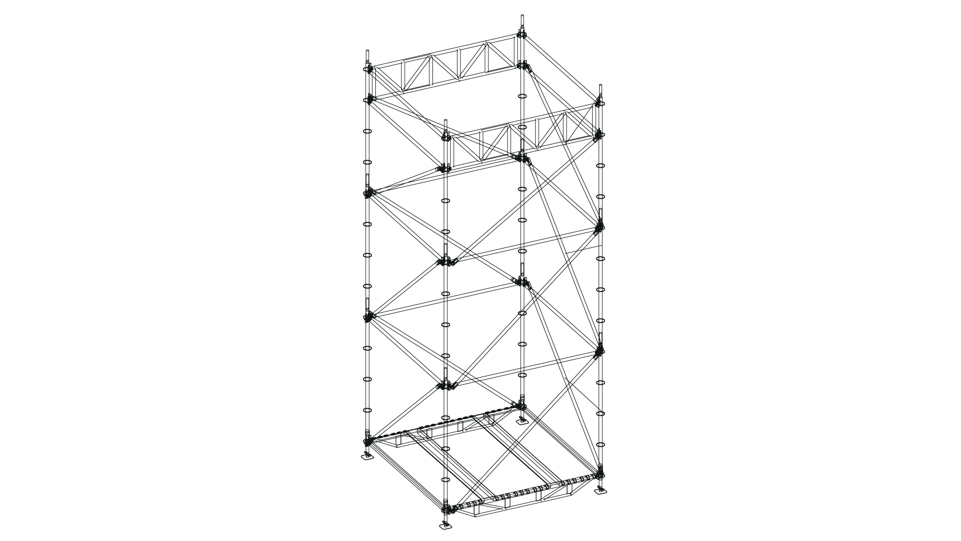 Audio, lights and direction towers scaffolding