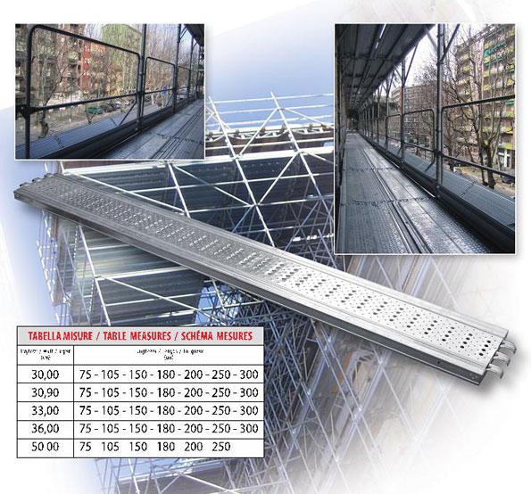 misure tavole metalliche per ponteggi